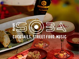 The Bar Soba logo over a split image of cocktails and Asian food