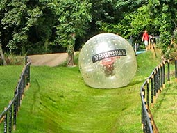A giant inflatable zorb rolling down a hill