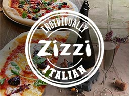 White Zizzi logo placed over a split image of a pizza and a bottle of Prosecco with a full glass