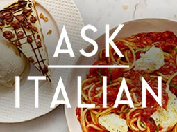 Two plates of food with the Ask Italian logo over