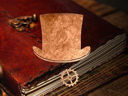 A top hat and cog laid over an image of an old fashioned book