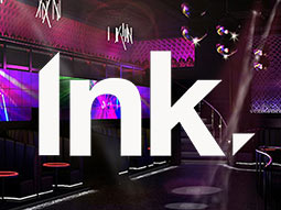The interiors of Club INK with the Ink logo written over the top