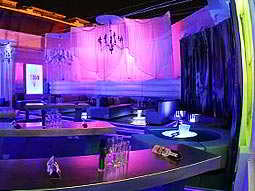 The interiors of TIBU, with pink and blue lighting