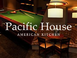 A split image of a pool table and a booth, with the Pacific House logo overlapping