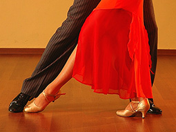 A man and woman dancing Salsa