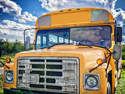 A vintage school bus outdoors