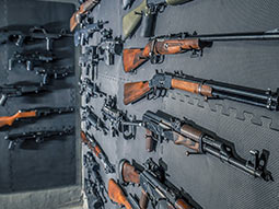 A selection of guns mounted on a wall