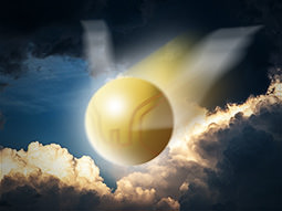 A golden snitch flying at speed through clouds