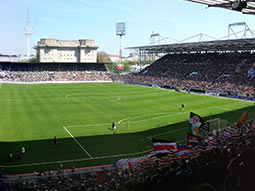 A view of the pitch at St Pauli Football Stadium