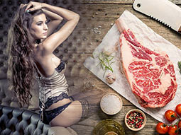A split image of a woman in sexy lingerie sitting down and a steak on a wooden table