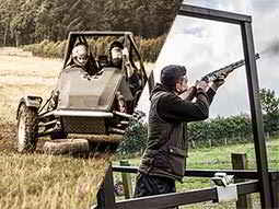 A split image of an off-road buggy driving through a field and a man aiming a shotgun into the sky