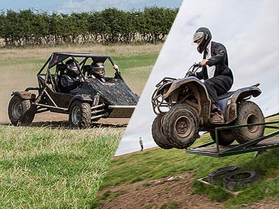A split image of an off-road buggy in a field and a quad bike being driven over a metal obstacle