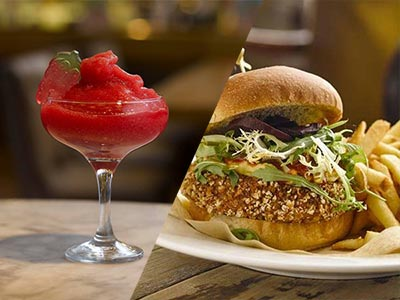 A split image of a cocktail and a burger