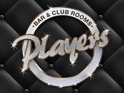 Players logo with black quilted background