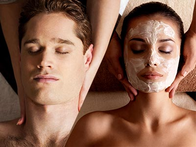 A split image of a man and a woman getting a massage and facial