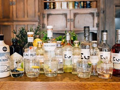 Various bottles of gin on a table