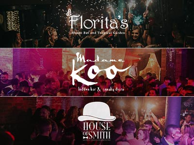A split image of Florita's, Madame Koo and House of Smith nightclubs, in Newcastle