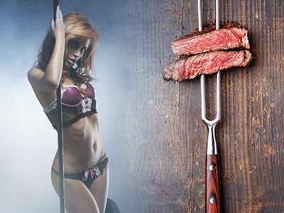 An image of a woman holding a pole and two pieces of steak on a fork
