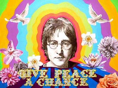 An illustration of John Lennon on a colorful background