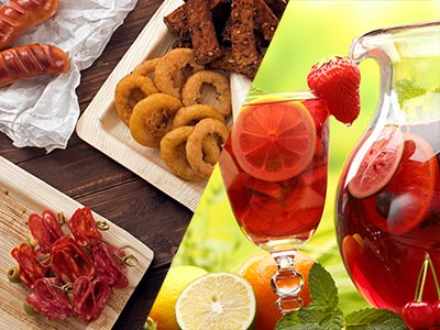 A split image of tapas and sangria