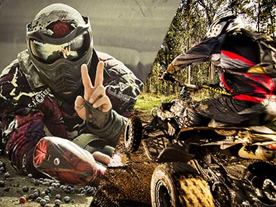 A split image of someone in a paintball helmet lying down and someone riding a quad bike