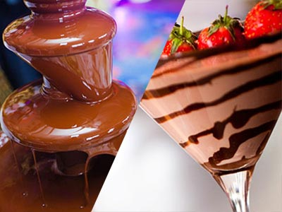 A split image of a chocolate fountain and a cocktail made of chocolate with strawberry's on top