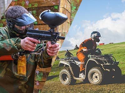 Split image of a guy holding a paintball gun wearing camoflauge and a guy driving a quad bike on a field
