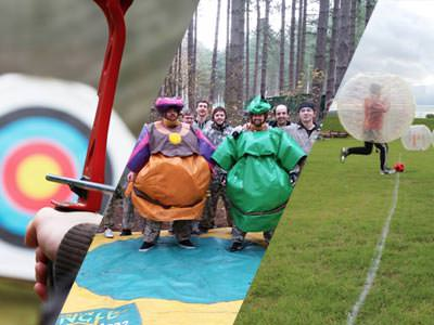 Image split in three with a guy oon a red quad bike going through mud and two people dressed in sumo inflatable outfits and a guy wearing camoflauge clothing and a mask with a paintball gun