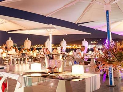 A beach club at night