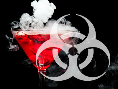 A red cocktail with smoke coming out of it and a bio-hazard symbol over