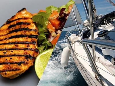 A split image of a chicken with salad and a boat on the water