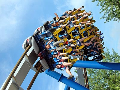 A group of people on a roller coaster