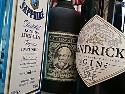 Image of three different bottles of gin