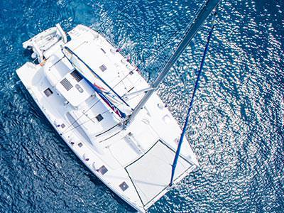 Image of a catamaran in the blue sea