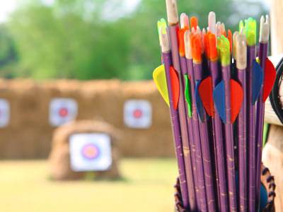 Colourful bows in a quiver, with blurred archery targets in the background