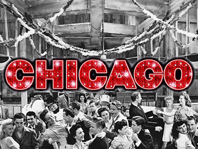 Red and white Chicago text on top of a black and white image of people dancing