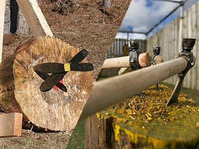 A split image of knives stuck in a wooden log and tomahawk axes stuck in a wooden log
