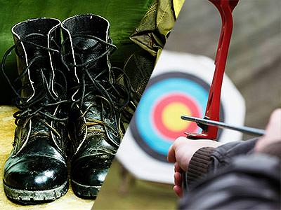 A split image of black military boots and a person aiming a bow and arrow