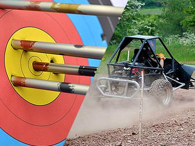 A split image of an archery target with arrows in and an off-road buggy driving on a dirt track