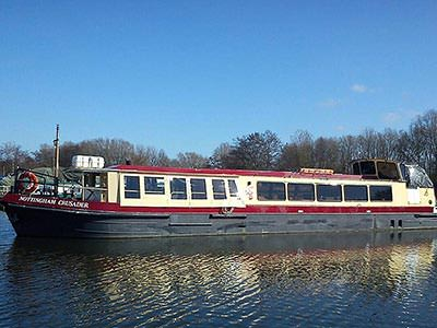 A large pleasure boat on still water