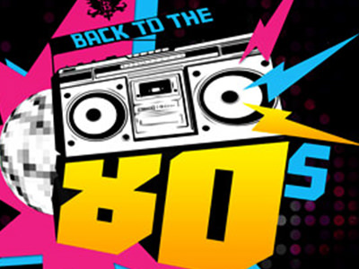A logo reading 'back to the 80's' including a boombox and mirrorball