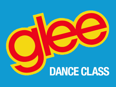 The 'Glee' TV show logo and the words 'dance class' on a sky blue background