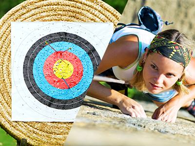 A split image of an archery target and a woman climbing
