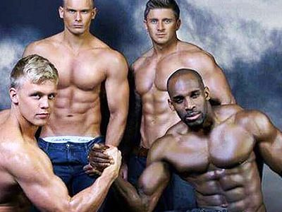 Four semi-naked men in jeans, posing and showing off their muscles