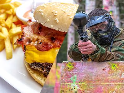 A split image of a burger and chips meal, and a man firing a paintball gun