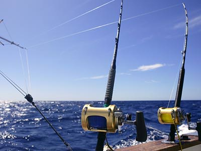Two fishing rods off the side of a boat
