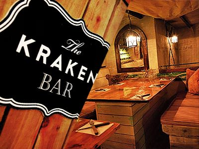 Split image of the Kraken Bar logo next to wooden tables and chairs