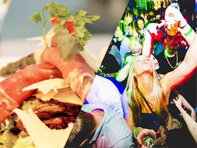 Split image of food on a plate, and a woman dancing with people in the background