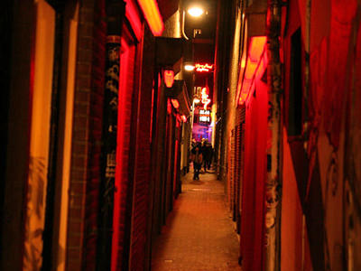 A side street in Amsterdam Red Light District