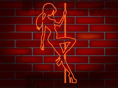 Close up of an orange illustration of a woman dancing on a pole over a red brick wall